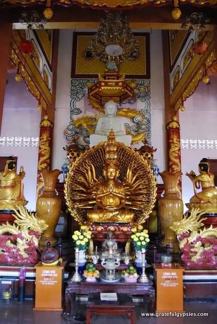 Shrine inside of the Buddhist temple.