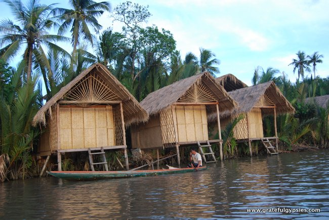Little bungalows on the river.