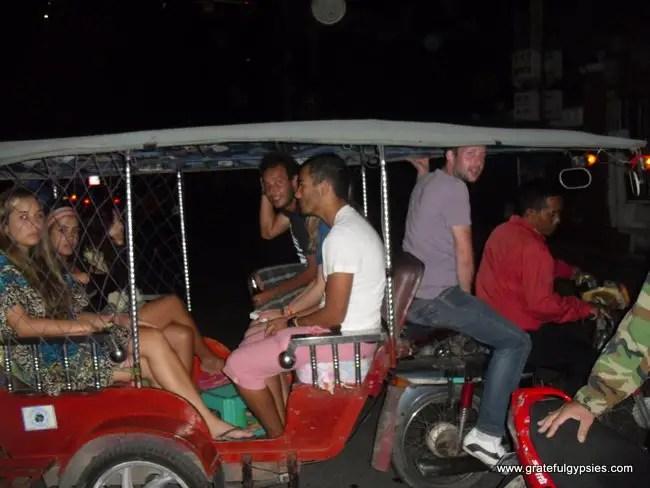 Traveling tuk-tuk party.