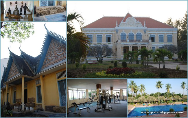 Top right: Governor's Residence. Bottom Right: Pool and Gym. Left: Battambang Museum.
