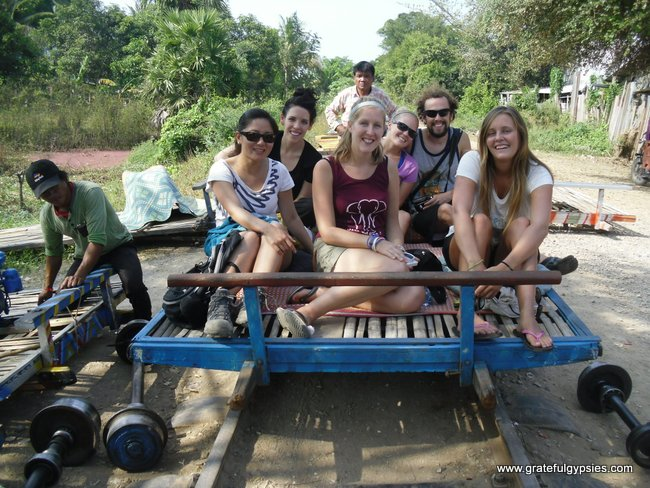 Excited for our ride on the Bamboo Train