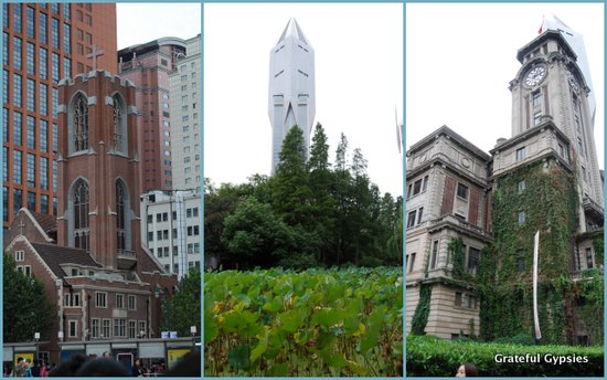 Varied architectural styles in Shanghai.
