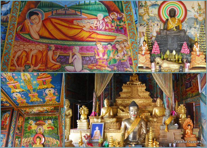A collage of Buddha images from the temple.