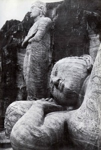 carved figures of Buddha at Polunnaruwa