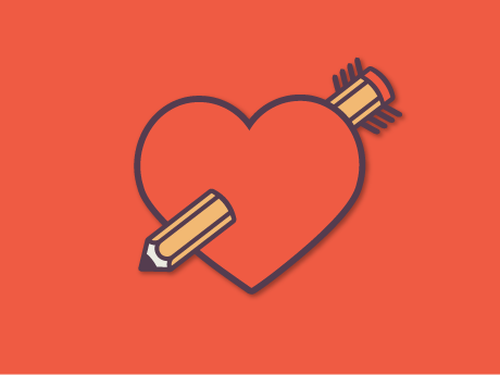 red heart pencil school