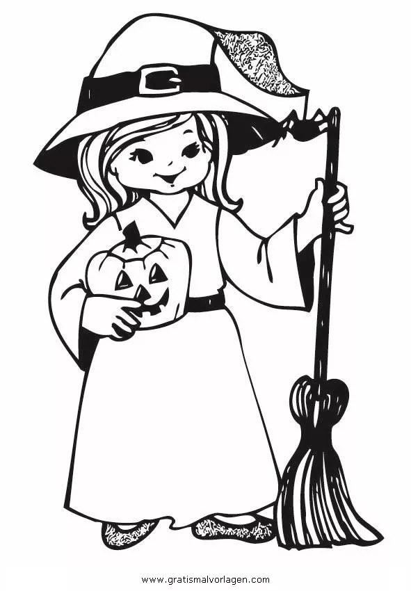 Halloween Hexen 61 Gratis Malvorlage In Halloween Hexe