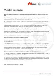 Media Release -Department of State Development - Gratis Recruitment