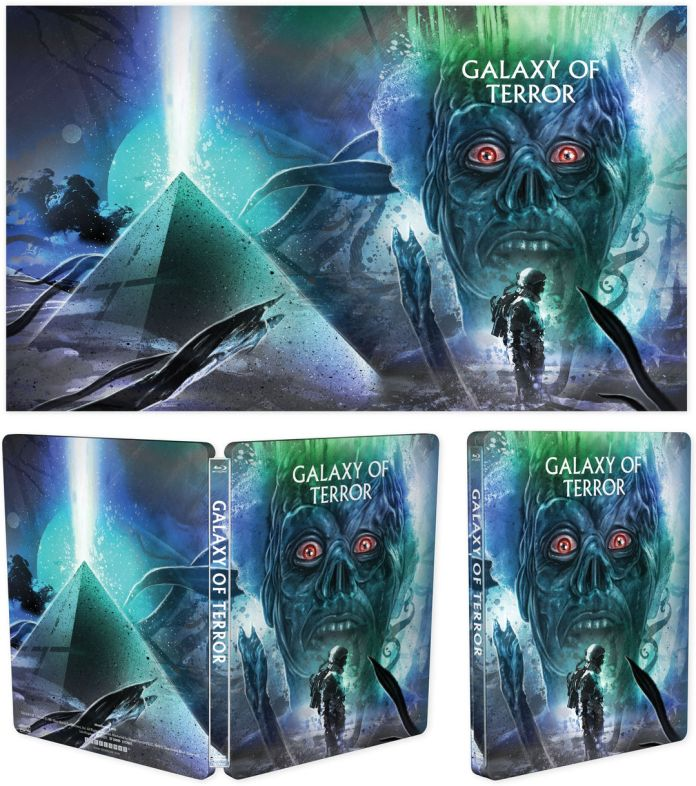 Shout Factory's Scream Factory Galaxy of Terror Limited Edition Steelbook Blu-ray Cover Art by Laz Marquez