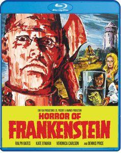 Scream Factory's Horror of Frankenstein blu-ray cover.