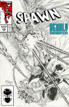 Image Comics Spawn issue #298 black & white variant cover C by Todd McFarlane