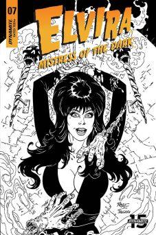 Dynamite Entertainment's Elvira: Mistress of the Dark issue #7 cover C (black & white) by John Royle.