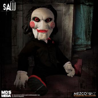 Mezco Toyz MDS Mega Scale Saw Talking Billy doll front seated.