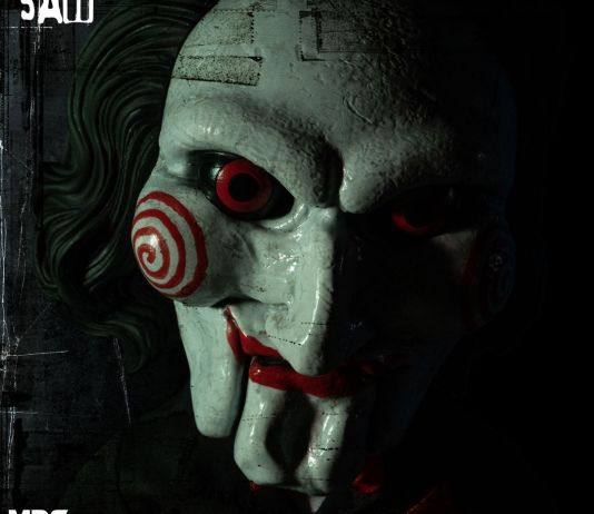 Mezco Toyz MDS Mega Scale Saw Talking Billy doll face from above.