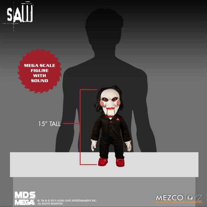 Mezco Toyz MDS Mega Scale Saw Talking Billy doll size comparison.