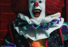NECA Toys' IT (1990) Pennywise 8-inch clothed action figure.