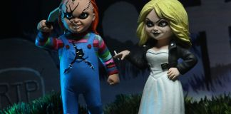 NECA Toys' Toony Terrors Bride of Chucky action figure 2-pack with Chucky & Tiffany (front with cutout backdrop).