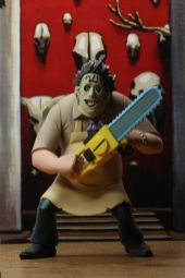 NECA Toys' Toony Terrors series 2 action figure Leatherface (front) with cutout backdrop.