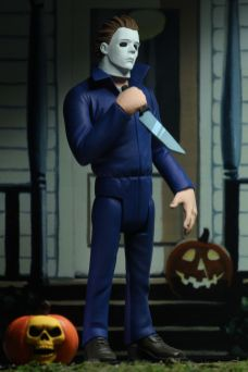 NECA Toys' Toony Terrors series 2 action figure Michael Myers (angled right) with cutout backdrop.