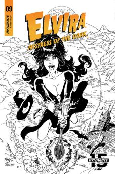 Dynamite Entertainment Elvira: Mistress of the Dark Issue #9 Cover C (Black & White) by John Royle