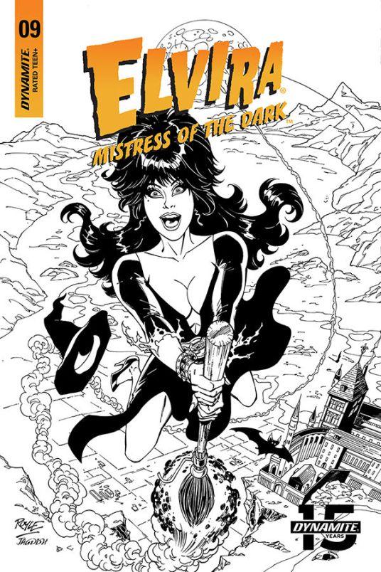 Dynamite Entertainment Elvira: Mistress of the Dark Issue #9 Cover C (Black & White) by John Royle