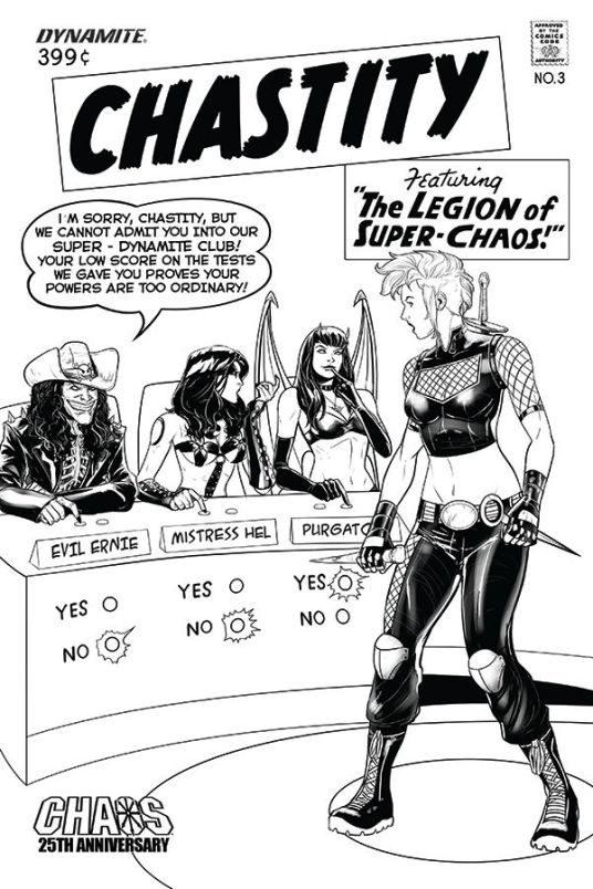 Dynamite Entertainment Chastity #3 Cover C (Black & White) by Daniel Maine