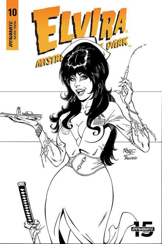 Dynamite Entertainment Elvira: Mistress of the Dark Cover C (Black & White) by John Royle