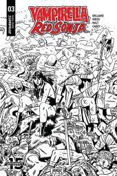 Dynamite Entertainment Vampirella/Red Sonja #3 Cover D (Black & White) by Leonardo Romero & Jordie Bellaire