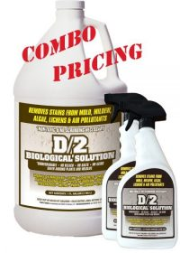 D2 Biological Solution Combo Pack - One Gallon Size and Two Quart Reusable Spray Bottles