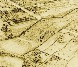 Late 1700's drawing of the African burial ground in Manhattan