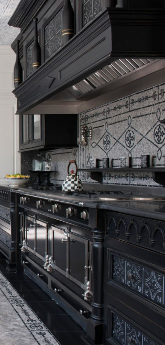 36 Dramatic Home Gothic Décor Design Ideas that Reek of ... on Modern:ywbgei4Kh3S= Kitchen Ideas  id=31734