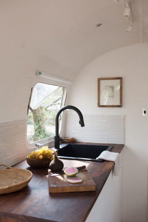 35 Stylish and Gorgeous Airstream Interior Design Ideas ... on Remodel:ll6Wzx8Nqba= Small Kitchen Ideas  id=37006