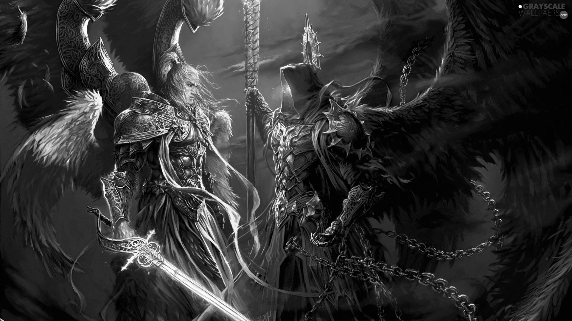 Grayscale Might And Magic Heroes VI Archangel Michael 1920x1080