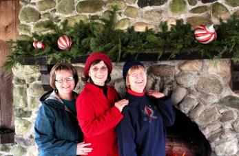 yule log celebration ladies smiling
