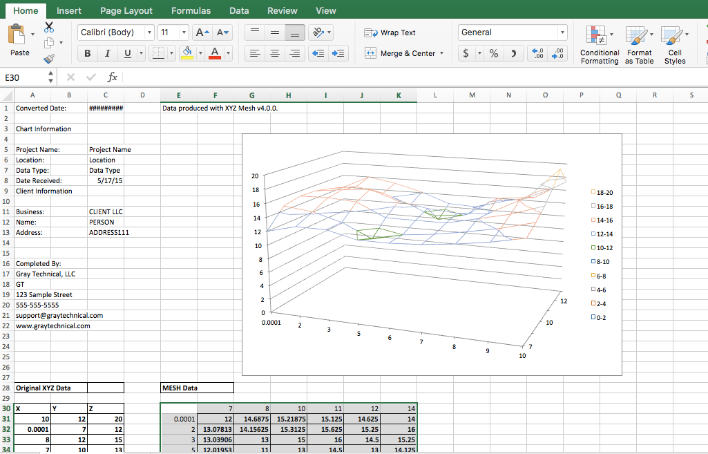 How to graph XYZ data in 3D inside Microsoft Excel | Gray