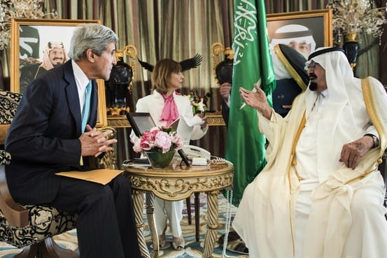 Kerry plotting with medieval monarch, King Abdullah, of Saudi Arabia.