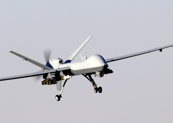 An advanced drone returns from a mission.  Efficient, lethal, brutal, and cowardly. (1) [USAF, via flickr]