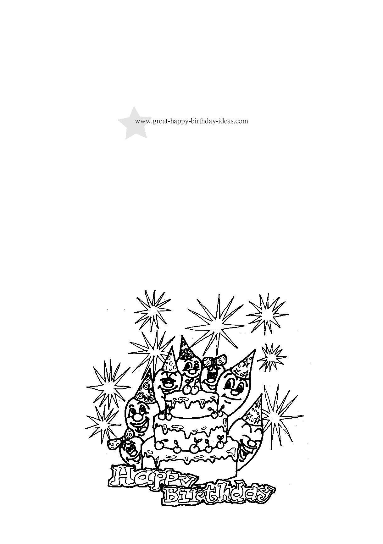 Birthday Coloring Cards Free Printable