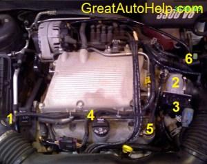 GM 3500 V6 Engine Sensor Locations Picture