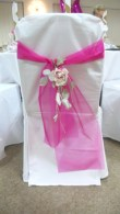 pink sash with rosees