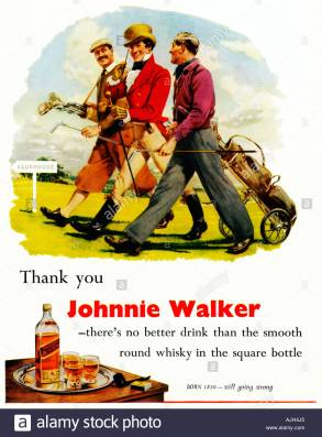 johnnie walker golf 1930s advert for the smooth round whisky in the AJH4J5