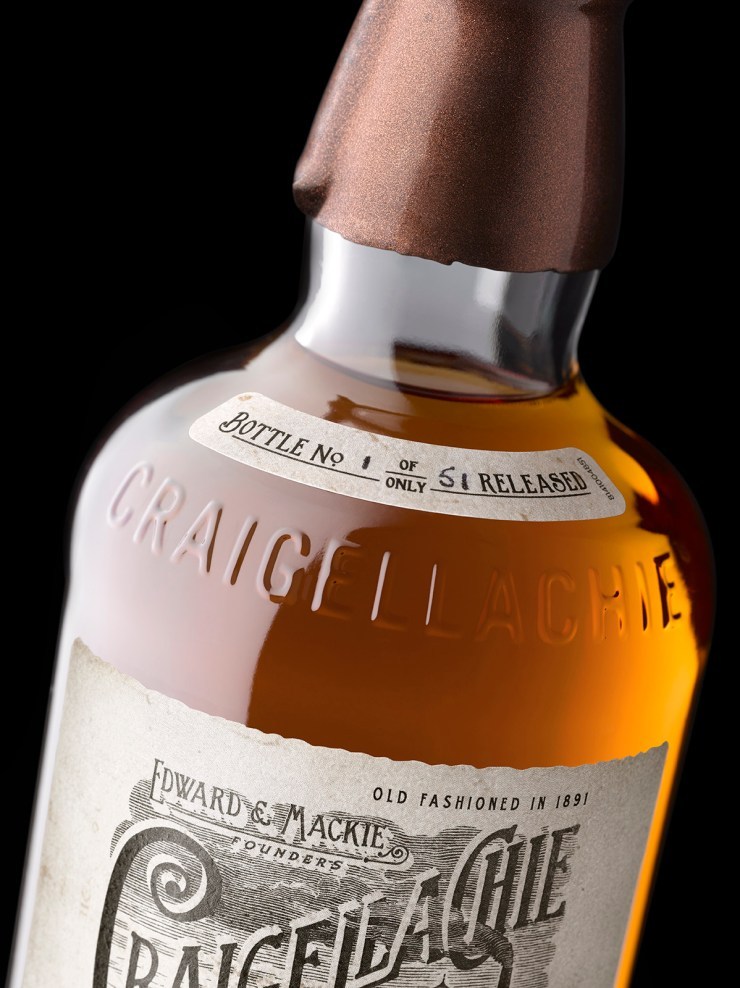 Craigellachie 51 Shoulder Label Detail ON BLACK