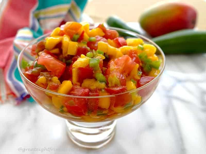 Mango Papaya Salsa glass dish