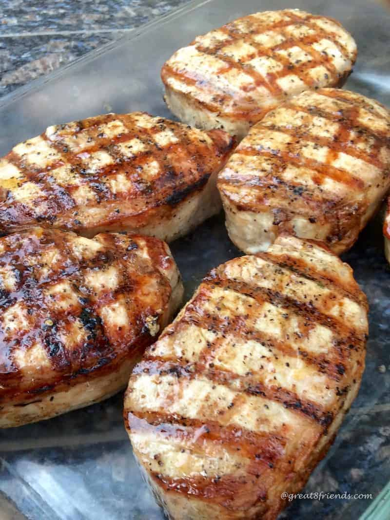 Grilled Basil Rubbed Pork Chops with Nectarines