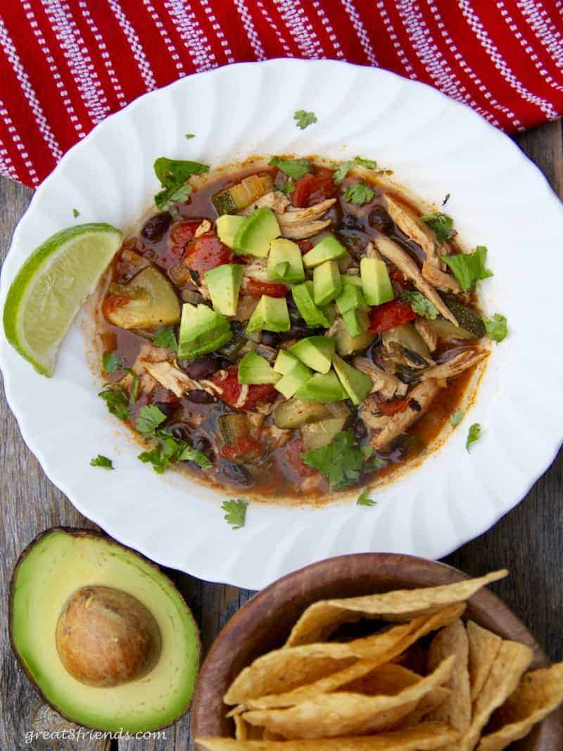There is nothing better than a hot bowl of a hearty soup for supper and this Shredded Chicken Tortilla Soup fills the bill!