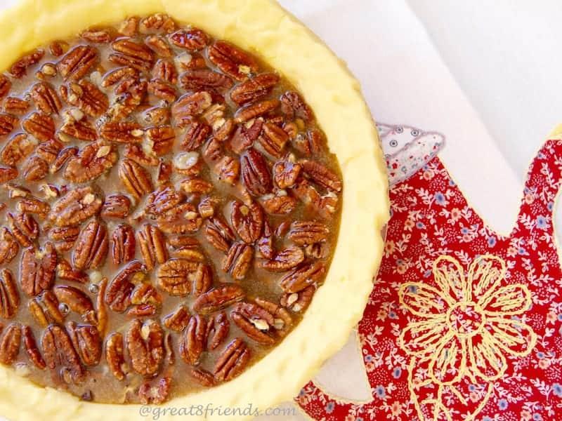 Chocolate Pecan Bourbon Pie
