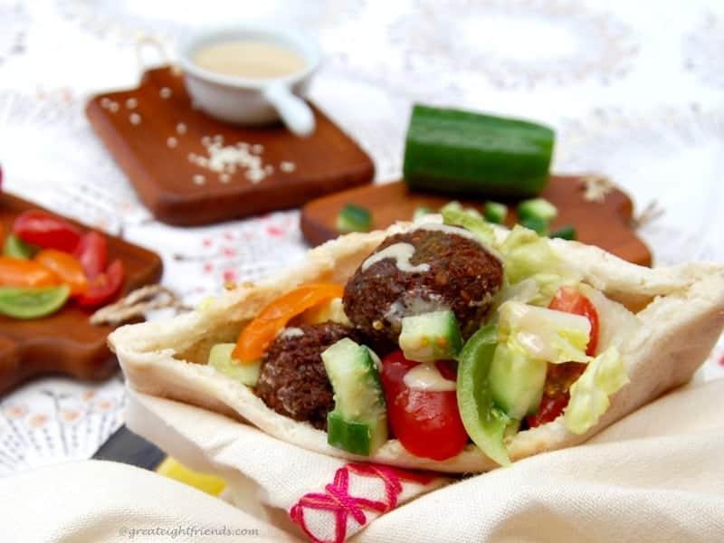Falafel Pita Condiments