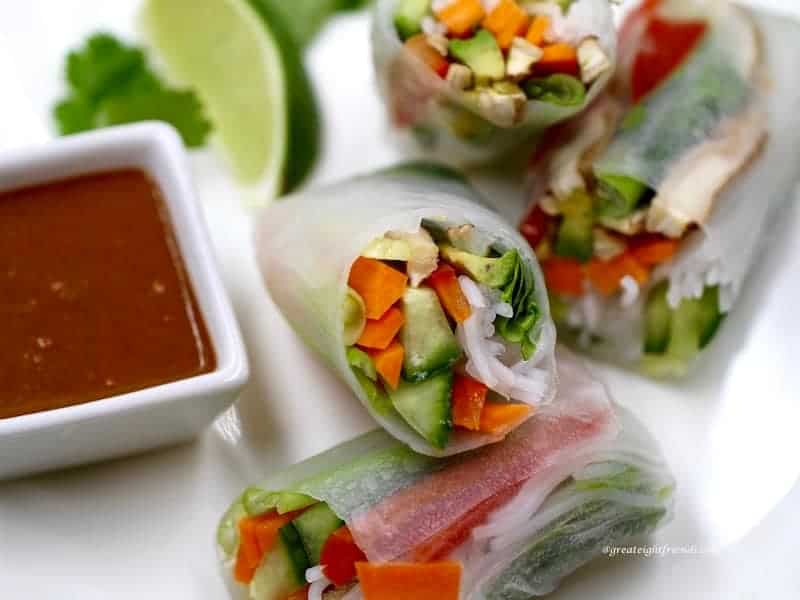 Veggie Spring Rolls with Dipping Sauces