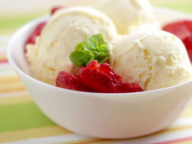 No fancy equipment necessary to make this delicious and easy vanilla ice cream. This recipe can be used with an ice cream make or without!