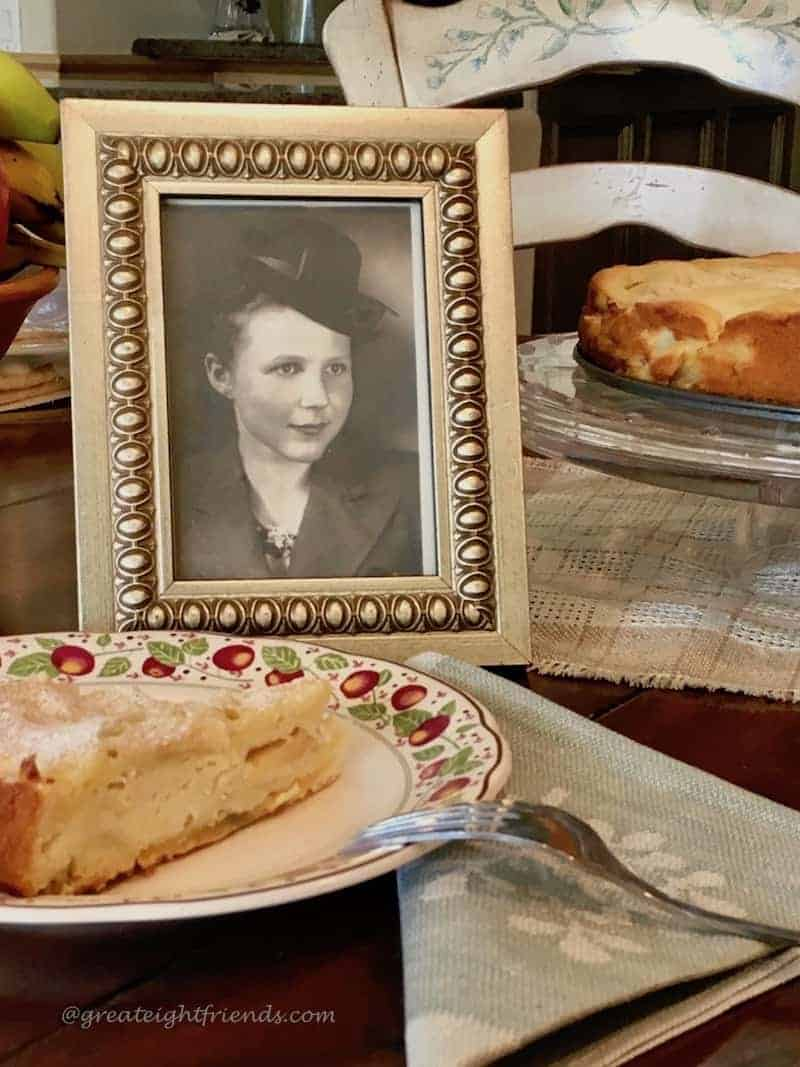 Lithuanian Apple Cake slice with photo of mom.