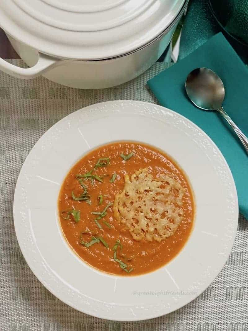 tomato soup with parmesan lace